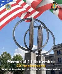 """Memorial """"11 Settembre 2001 – 11 Settembre 2021"""""""